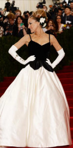 "SJP you Godess! adorned in Oscar de la Renta with ultimate diva status hair. She honours both Charles James and ODLR by stating ""Any dress that is cut beautifully is easy to get into,"""