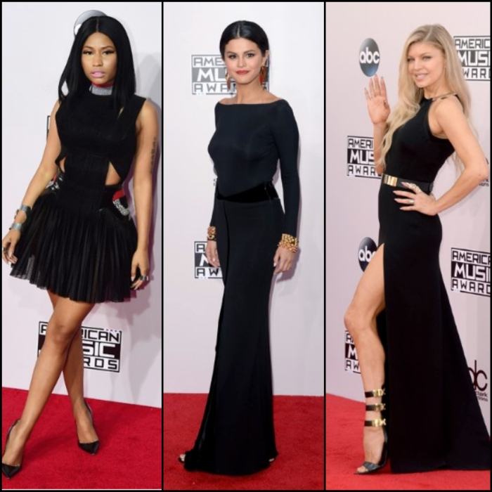 Nicki Minaj wearing an Alexander Wang Gown with Manolo Blahnik Heels Selena Gomez wearing Armani Prive Fergie wearing a Halston Heritage Gown  photos by Getty Images