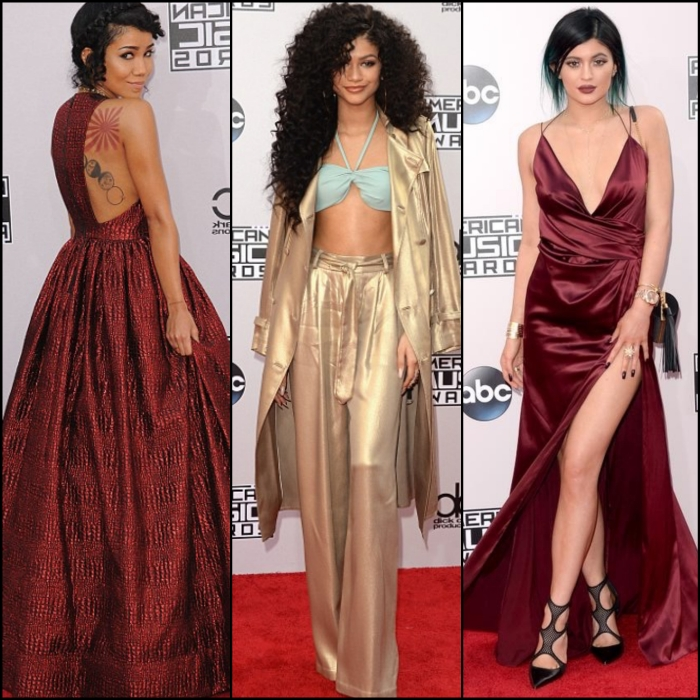 Jhene Aiko in an alice + olivia dress with Giuseppe Zanotti shoes, a Rauwolf clutch, and an Amrapali necklace. Zendaya center in gold two piece Kylie Jenner slays the slit in this colour Photos by Getty Images
