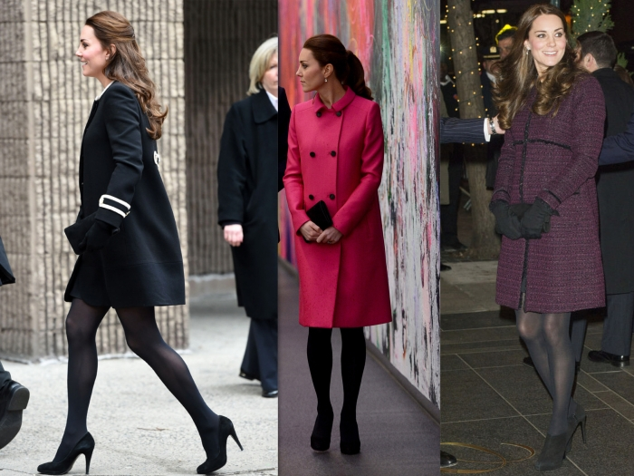 [from left to right] Kate Middleton Duchess of Cambridge in Harlem visiting the Northside centre for child development wearing The Washington Coat from Goat, Visiting the 9/11 memorial & museum wearing a hot pink mulberry coat with Jimmy Choo pumps, Wearing a Seraphine coat and Stuart Weitzman pumps & clutch