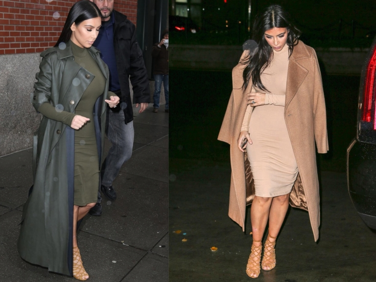 Kim Kardashian West wearing Olive Lanvin Trench coat with her trust Hermes Heels and also wearing the incredible Max Mara Camel Manuela Coat! A classic!