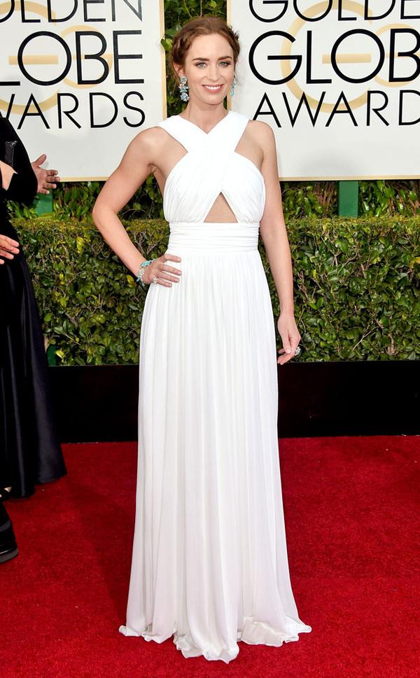 "Emily Blunt looked like a grecian princess in this custom Michael Kors. This was a total red carpet hit last night even though she said that ""the bottom of its a bit soggy"" in reference to her dress in the LA rain."