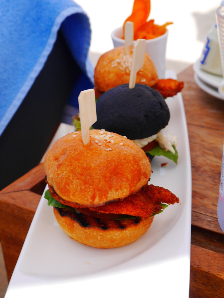 hangover sliders @ cove beach - mini chicken and lobster burgers