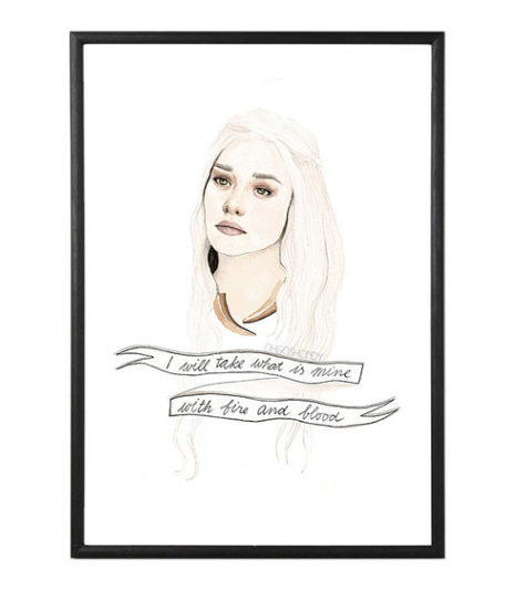 I recently purchased a piece of art from La La Land and I've never been happier with an online purchase. This Daenerys Targaryan piece is a must have in my new flat for constant fearless inspiration!