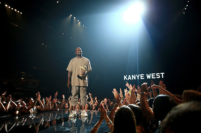 LOS ANGELES, CA - AUGUST 30:  Recording artist Kanye West accepts the Vanguard Award onstage during the 2015 MTV Video Music Awards at Microsoft Theater on August 30, 2015 in Los Angeles, California.  (Photo by Christopher Polk/MTV1415/Getty Images)