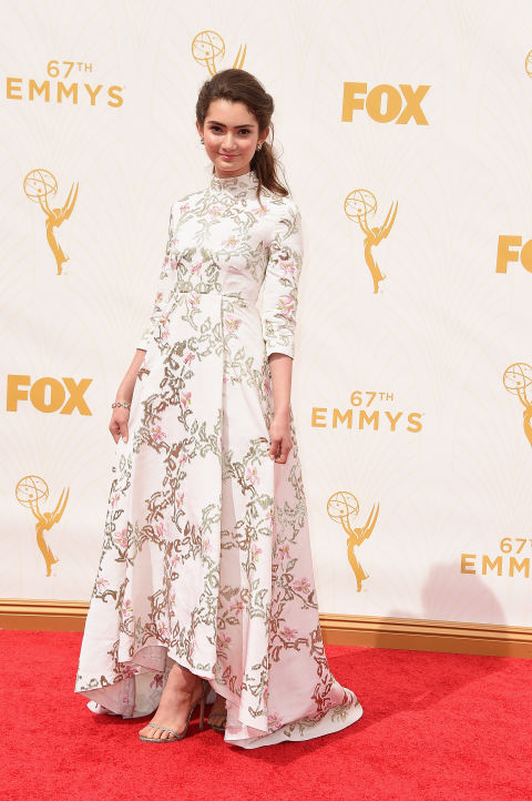 HOW cute is Emily Robinson in this Kayat dress? Perfect shoe for the dress she looks like a little princess!