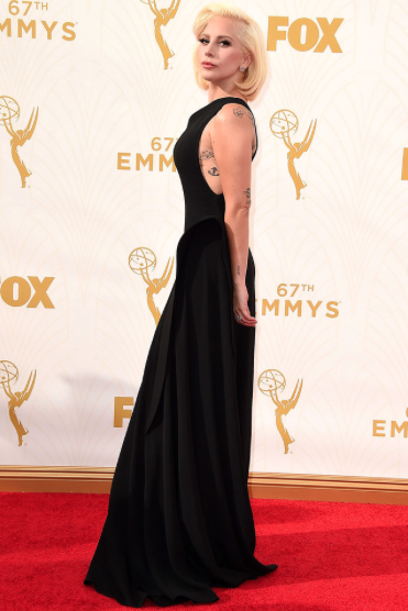 Gaga is all that is glamour in this Brandon Maxwell gown.